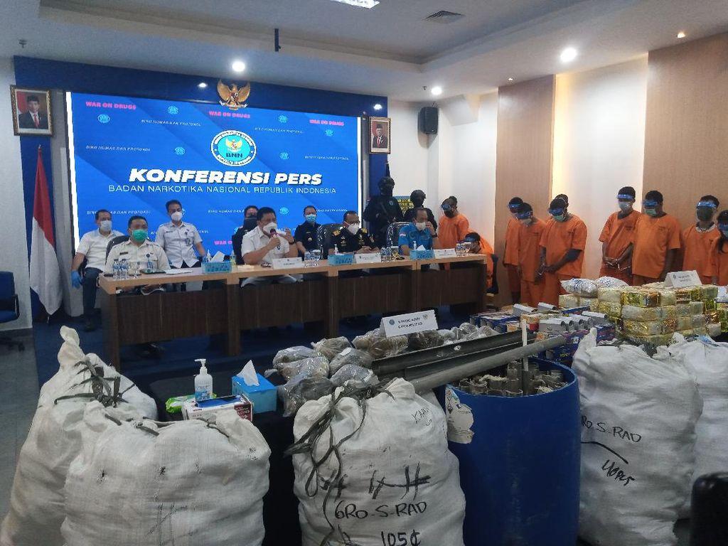 BNN Ungkap 6 Kasus Narkoba di Aceh-Jakarta, Sita Ratusan Kg Ganja dan Sabu