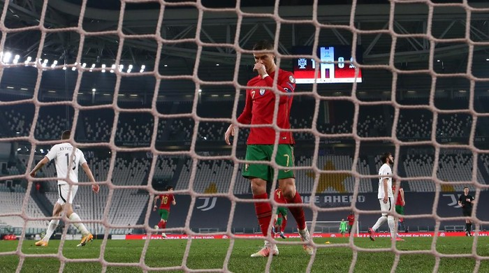 TURIN, ITALY - MARCH 24: Cristiano Ronaldo of Portugal reacts during the FIFA World Cup 2022 Qatar qualifying match between Portugal and Azerbaijan at Allianz Stadium on March 24, 2021 in Turin, Italy. (Photo by Jonathan Moscrop/Getty Images)