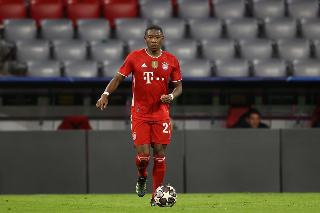 MUNICH, GERMANY - MARCH 17: David Alaba of FC Bayern München runs with the ball during the UEFA Champions League Round of 16 match between Bayern München and SS Lazio at Allianz Arena on March 17, 2021 in Munich, Germany. (Photo by Alexander Hassenstein/Getty Images)