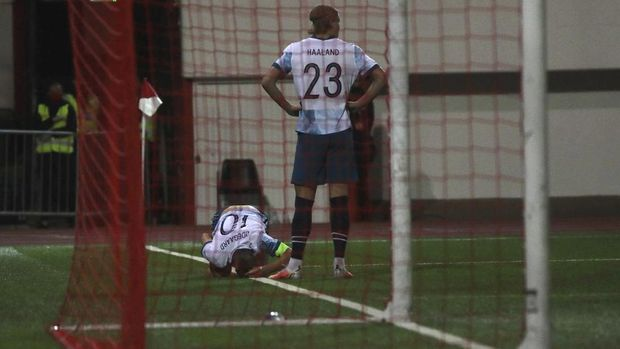 Norway's Martin Ødegaard reacts on the ground during the World Cup 2022 group G qualifying soccer match between Gibraltar and Norway in Gibraltar, Wednesday March 24, 2021. (AP Photo/Javier Fergo)
