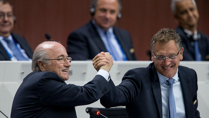 ZURICH, SWITZERLAND - MAY 29: FIFA President Joseph S. Blatter (L) shakes hands with FIFA Secretary General Jerome Valcke during the 65th FIFA Congress at Hallenstadion on May 29, 2015 in Zurich, Switzerland. (Photo by Philipp Schmidli/Getty Images)