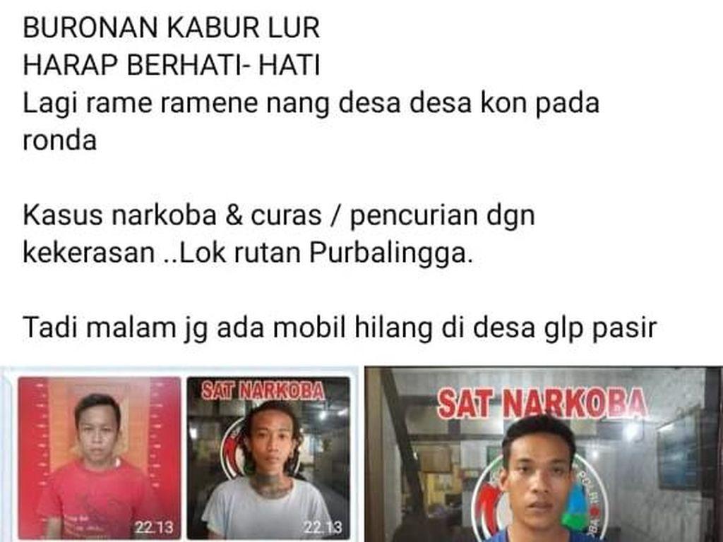 Viral Foto dan Info 5 Tahanan di Purbalingga Kabur, Ini Faktanya