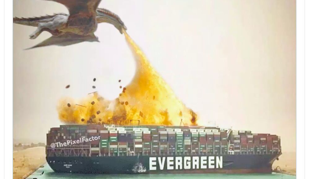Meme Kocak Kapal Raksasa Nyangkut di Terusan Suez