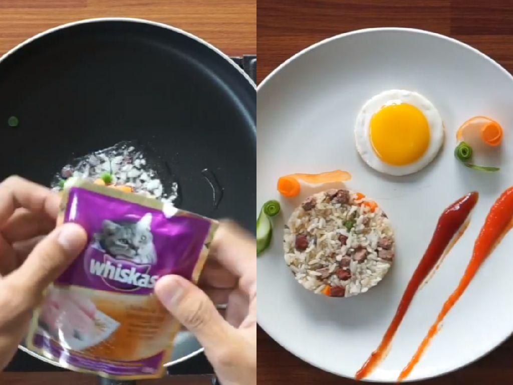 Inspirasi Chef Tiarbah Masak Darurat Saat Bikin Nasi Goreng Whiskas