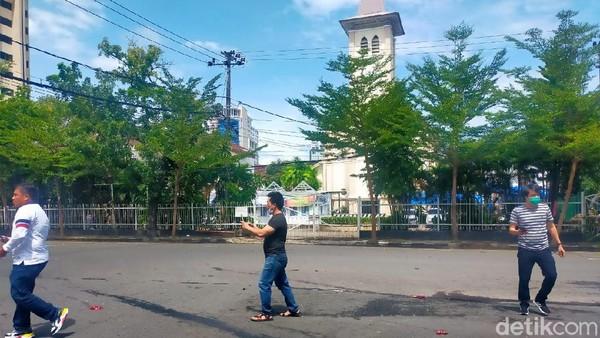 Lokasi ledakan di Makassar (Ibnu Munsir/detikcom).