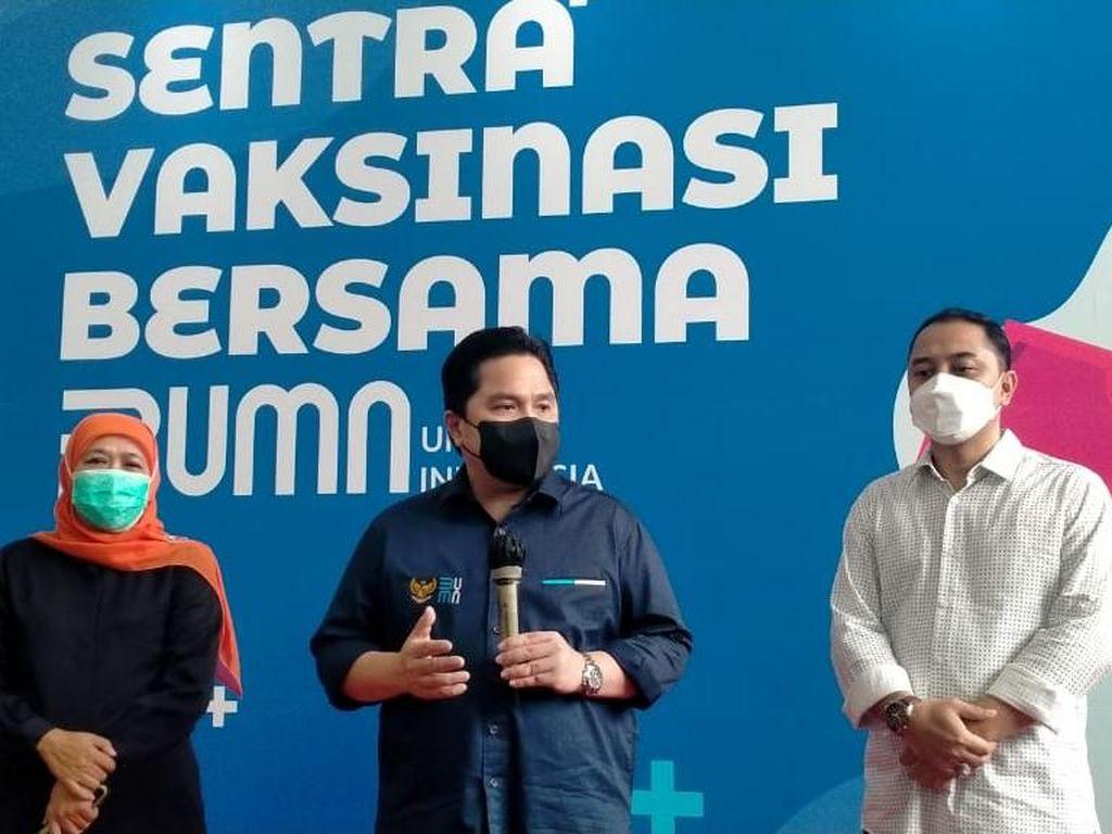 Menteri BUMN Targetkan 5 Ribu Sehari di Sentra Vaksinasi BUMN Surabaya
