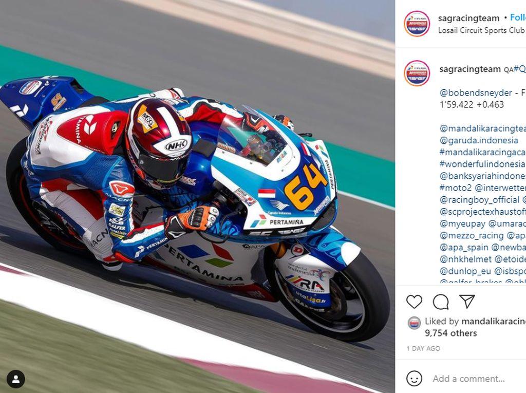 Sip! Pertamina Mandalika SAG Team Start di Grid Terdepan Moto2 Qatar