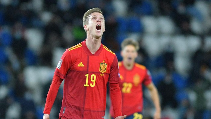 TBILISI, GEORGIA - MARCH 28: Dani Olmo of Spain celebrates after scoring their sides second goal during the FIFA World Cup 2022 Qatar qualifying match between Georgia and Spain at the Boris Paichadze Dinamo Arena on March 28, 2021 in Tbilisi, Georgia. 30% of the stadium capacity have been allowed into the match as a Covid-19 precaution.  (Photo by Levan Verdzeuli/Getty Images)