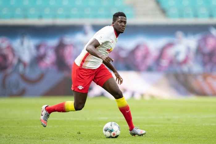 LEIPZIG, GERMANY - JUNE 20: Ibrahima Konate of RB Leipzig controls the ball during the Bundesliga match between RB Leipzig and Borussia Dortmund at Red Bull Arena on June 20, 2020 in Leipzig, Germany. (Photo by Maja Hitij/Getty Images)