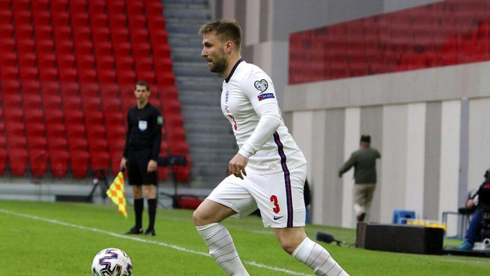 Englands Luke Shaw controls the ball during the World Cup 2022 group I qualifying soccer match between Albania and England at Air Albania stadium in Tirana, Sunday, March 28, 2021. (AP Photo/Hektor Pustina)