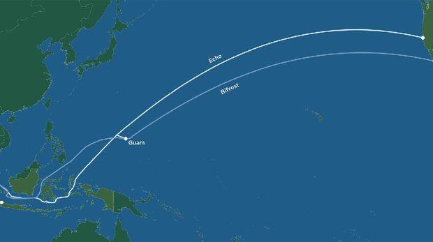 Proyek kabel bawah laut Echo dan Bifrost Google-Facebook yang hubungkan AS-RI