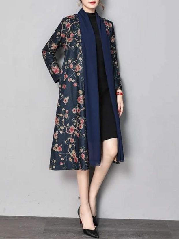 dress hitam dan long flower outer (sumber : pinterest.com/linenlooks)