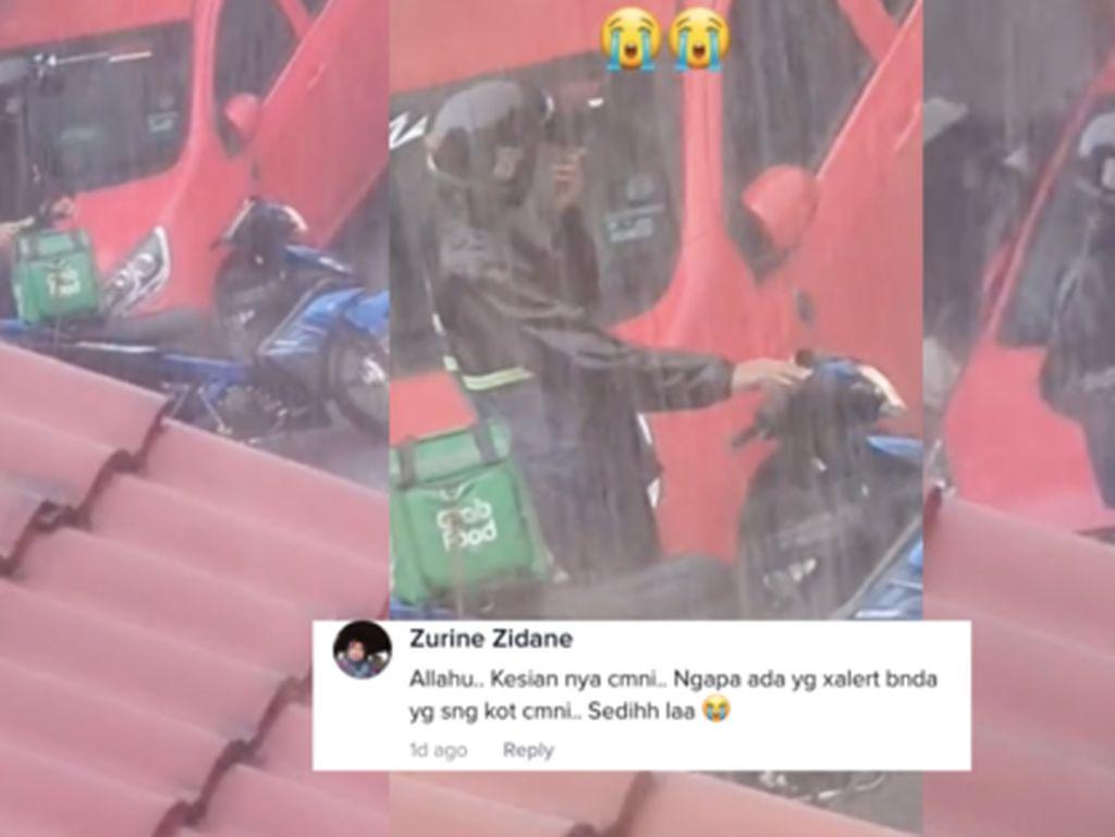 Kehujanan Tunggu Pembeli Ambil Makanan, Driver Ojol Ini Bikin Netizen Sedih