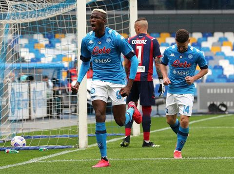 NAPLES, ITALY - APRIL 03: Victor Osimhen of SSC Napoli celebrates after scoring their side's second goal during the Serie A match between SSC Napoli and FC Crotone at Stadio Diego Armando Maradona on April 03, 2021 in Naples, Italy. Sporting stadiums around Italy remain under strict restrictions due to the Coronavirus Pandemic as Government social distancing laws prohibit fans inside venues resulting in games being played behind closed doors. (Photo by Francesco Pecoraro/Getty Images)