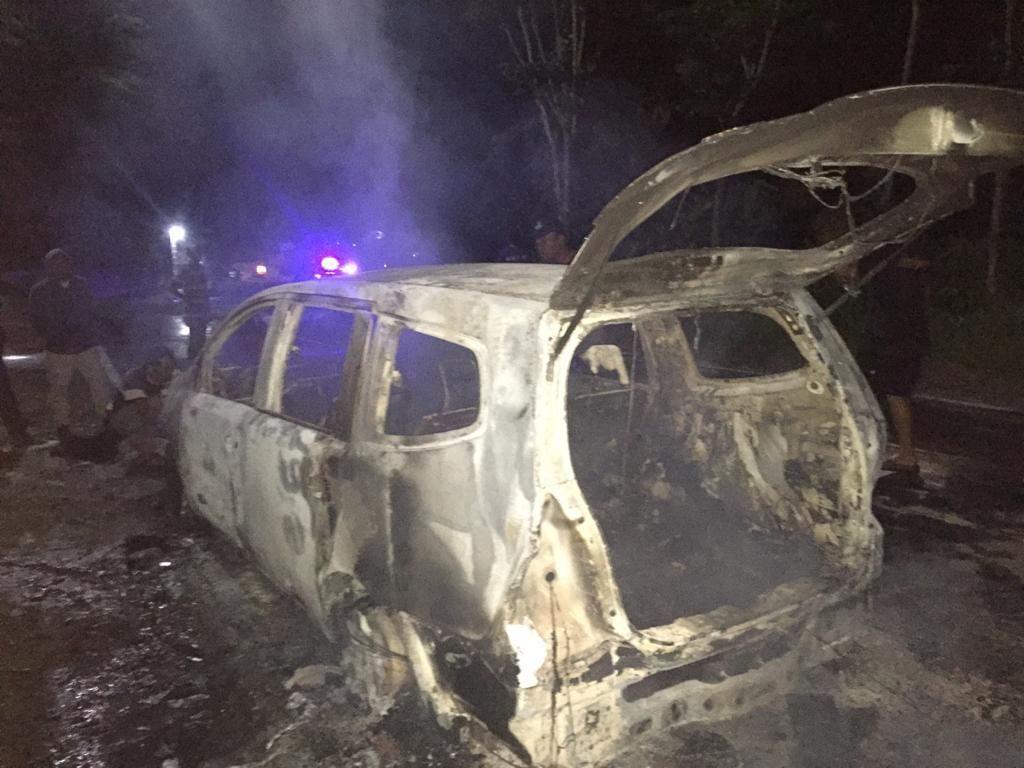 Mobil Hangus Terbakar di Ponorogo