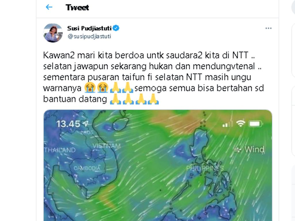 Apa Itu Windy, Aplikasi Cuaca Pilihan Susi Pudjiastuti