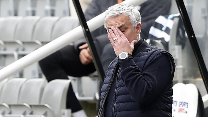 Tottenhams manager Jose Mourinho gestures during the warm up before the English Premier League soccer match between Newcastle United and Tottenham Hotspur at St. James Park in Newcastle, England, Sunday, April 4, 2021. (AP Photo/Scott Heppell, Pool)