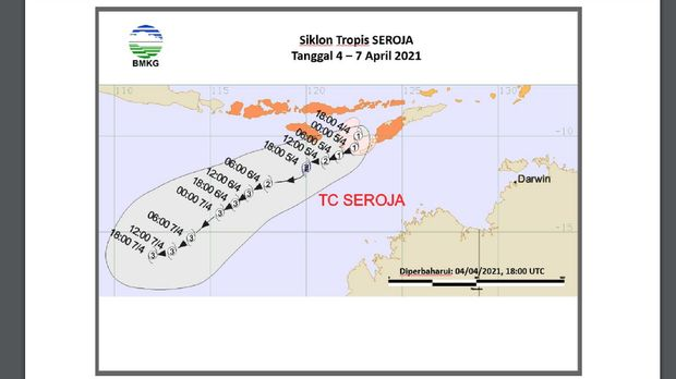Siklon tropis Seroja dan bibit siklon 90S di selatan Jawa (Banten)