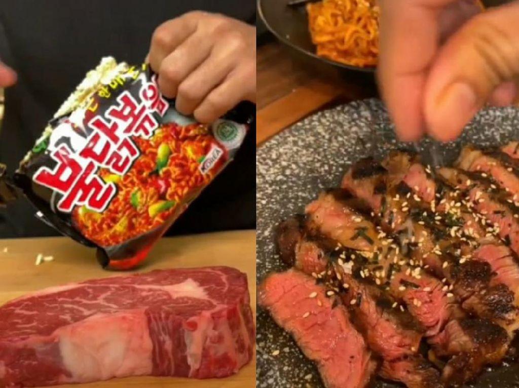 Setelah Bumbu Indomie, Pria Ini Masak Wagyu Steak Pakai Bumbu Samyang