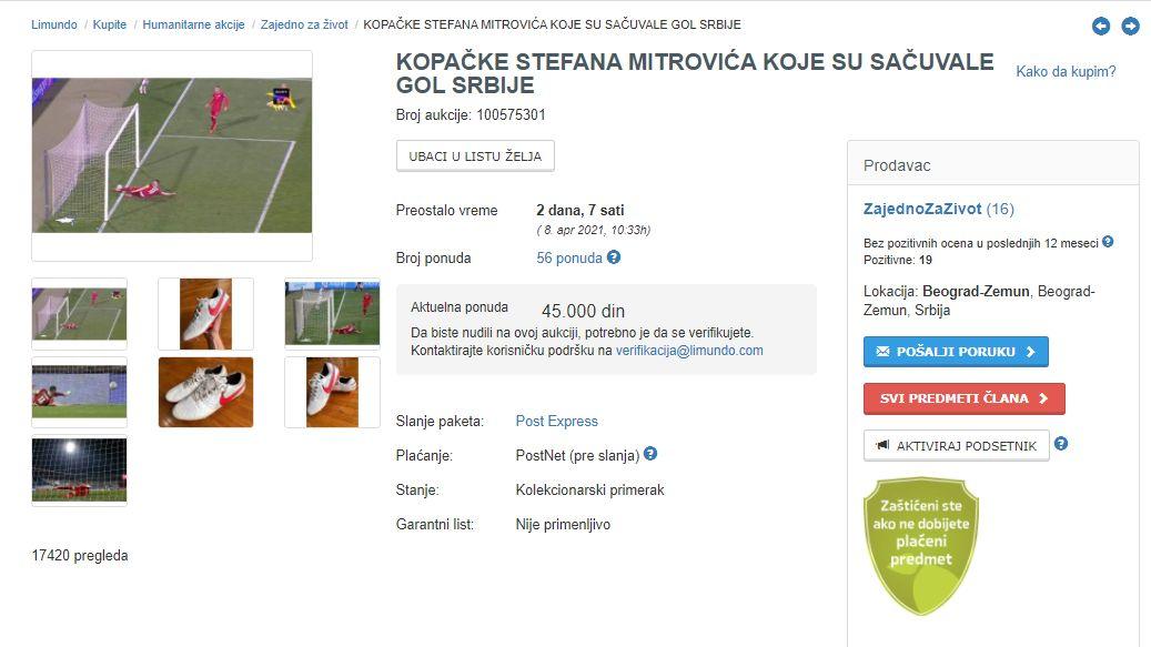 Lelang sepatu Stefan Mitrovic yang menghalau gol Cristiano Ronaldo di laga Serbia vs Portugal dalam Kualifikasi Piala Dunia 2022.