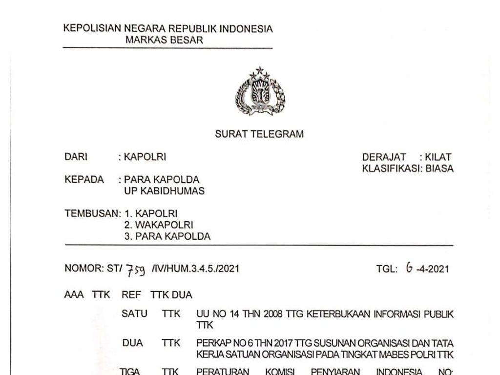 Komisi Informasi Jabar Apresiasi Polri Cabut Telegram Liputan Media