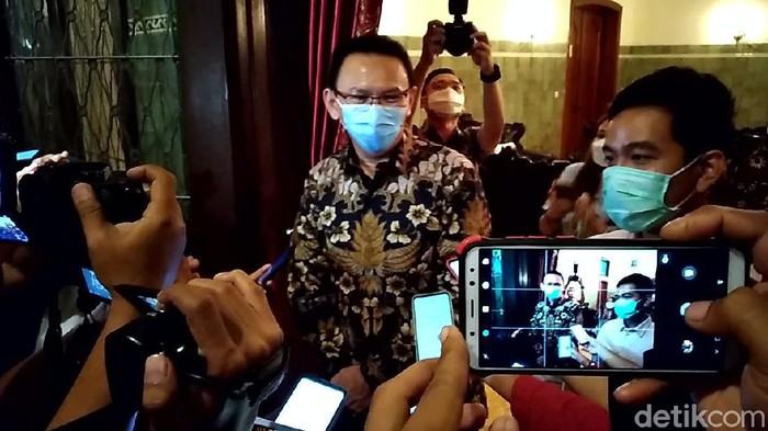 Komisaris Utama Pertamina, Basuki Tjahaja Purnama alias Ahok, menemui Wali Kota Solo Gibran Rakabuming Raka di Solo, Rabu (7/4/2021).