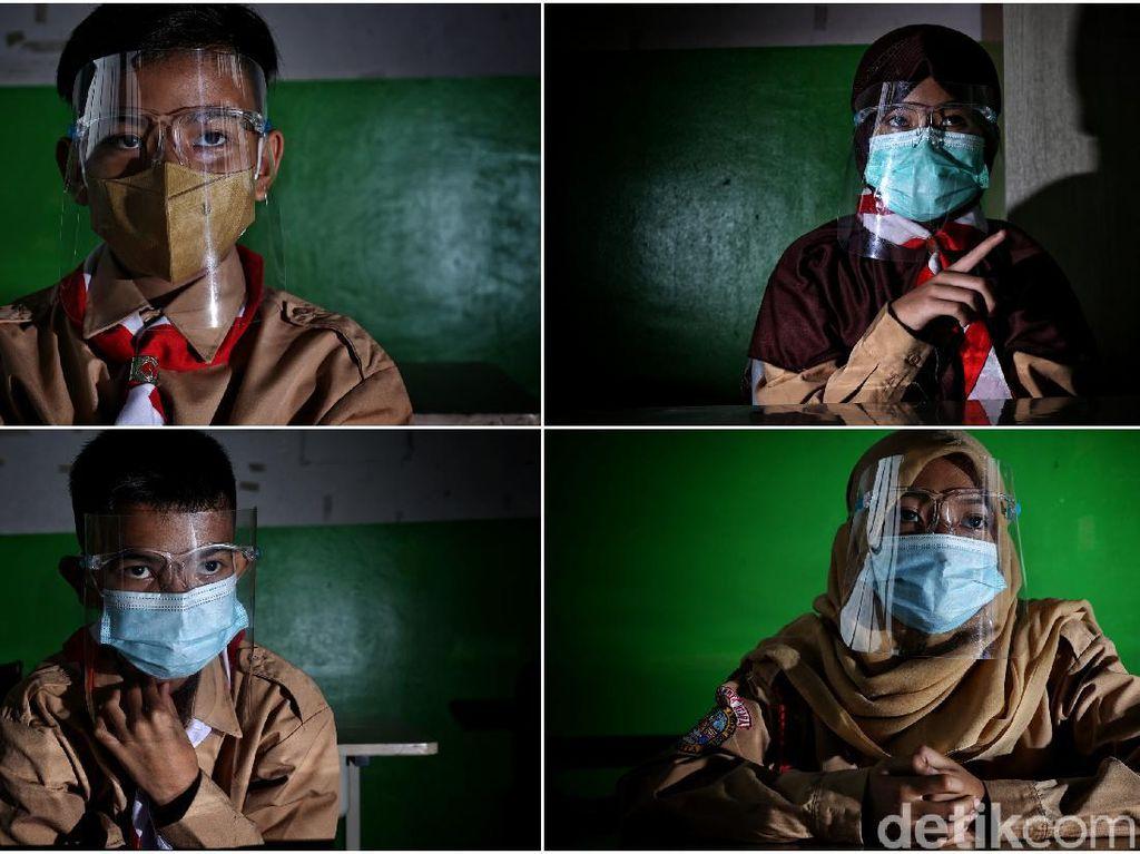 Potret Wajah-wajah Melepas Rindu Belajar di Sekolah