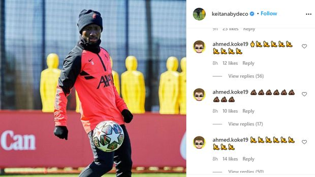 Unggahan di Instagram Naby Keita dihujani komentar rasisme usai laga Real Madrid vs Liverpool, Rabu 7 April 2021.