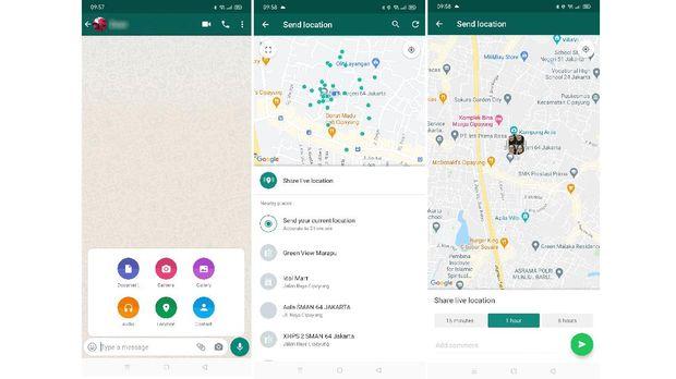 Tangkapan layar cara menggunakan fitur Share Live Location.