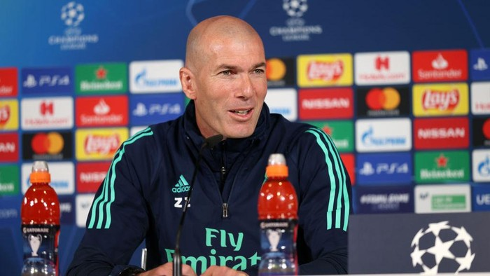 MADRID, SPAIN - FEBRUARY 25: Zinedine Zidane, Head Coach of Real Madrid speaks to the media during a press conference ahead of their UEFA Champions League round of 16 first leg match against Manchester City at Valdebebas training ground on February 25, 2020 in Madrid, Spain. (Photo by Angel Martinez/Getty Images)