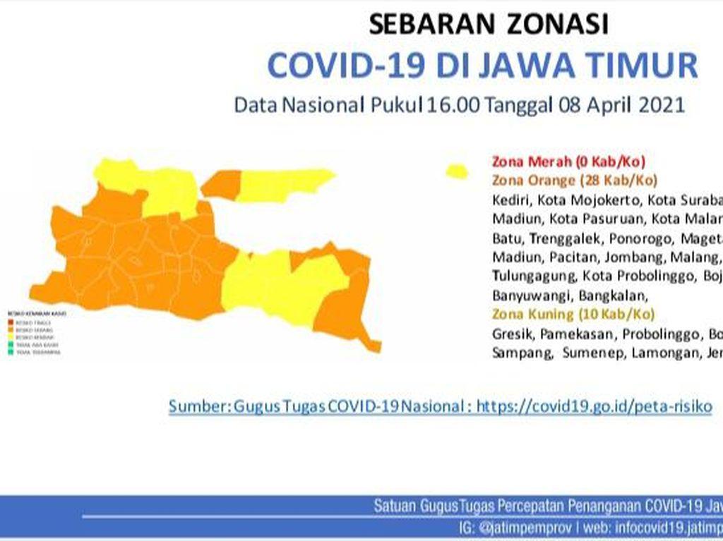 Zonasi COVID-19 Jatim: 0 Zona Merah, 28 Oranye dan 10 Kuning