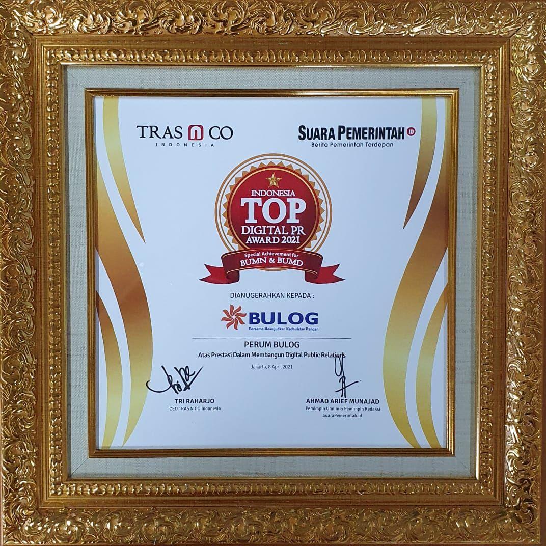 Perum BULOG berhasil meraih penghargaan Indonesia Digital PR Award 2021