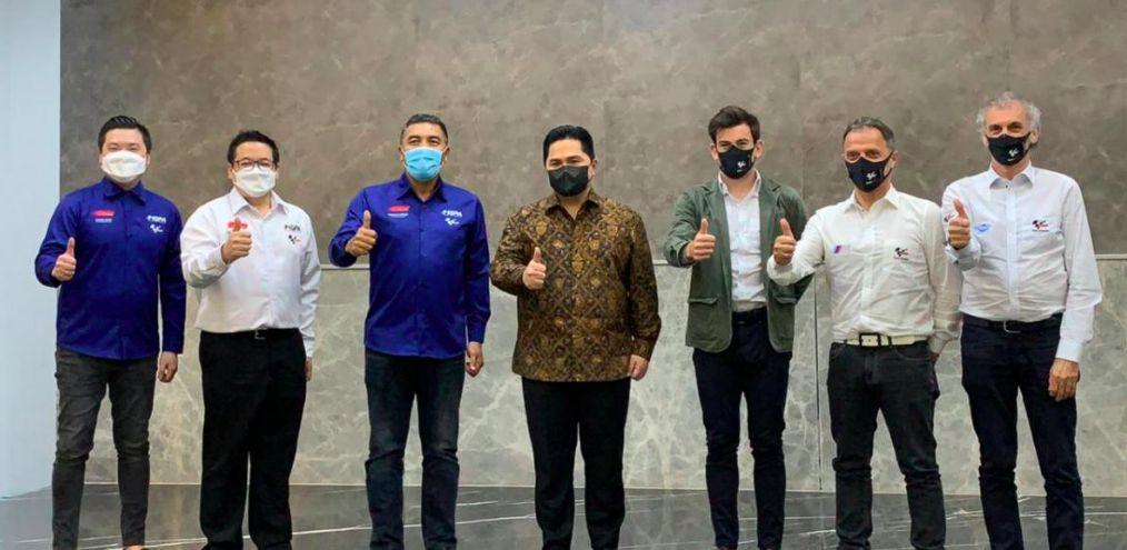Menteri BUMN Erick Thohir bersama para petinggi MotoGP/dok MotoGp