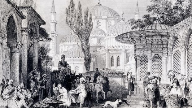 Engraving of  Sehzade Mosque and street market in Istanbul, Turkey, Ottoman Period.