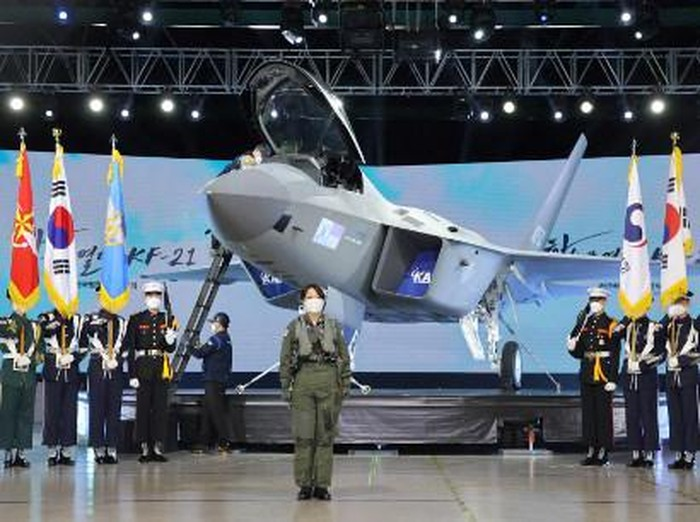 A prototype of the KF-21 Boramae fighter, South Koreas next-generation indigenous fighter jet, is displayed during its unveiling event at the Korea Aerospace Industries headquarters in the southern city of Sacheon on April 9, 2021. (Photo by - / YONHAP / AFP) / - South Korea OUT / REPUBLIC OF KOREA OUT NO ARCHIVES RESTRICTED TO SUBSCRIPTION USE