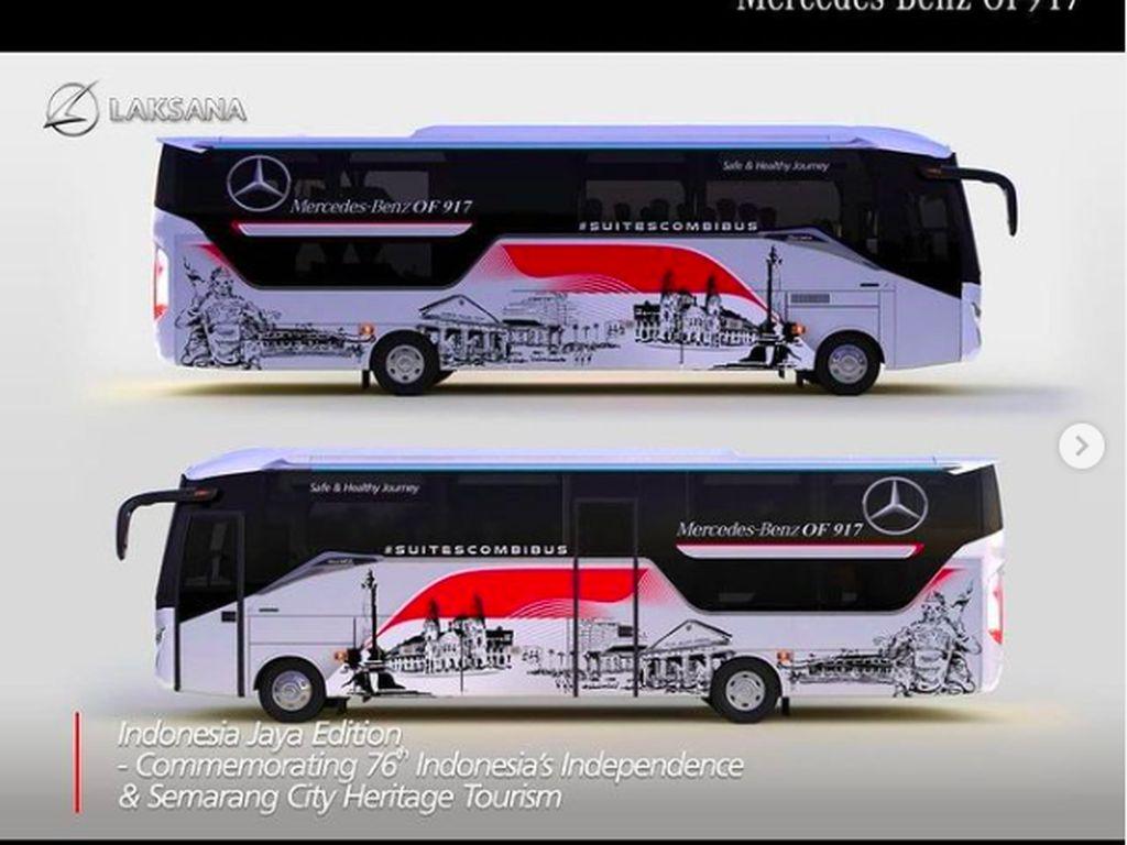 Begini Desain dan Livery Bus Laksana Edisi Merdeka Karya Seniman Lokal