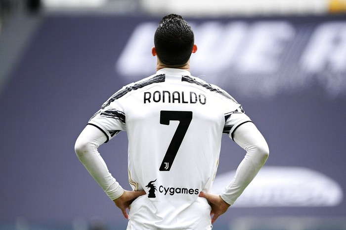 Juventus Cristiano Ronaldo looks on during a Serie A soccer match between Juventus and Genoa, at the Turin Allianz stadium, Italy, Sunday, April 11, 2021. (Marco Alpozzi/LaPresse via AP)