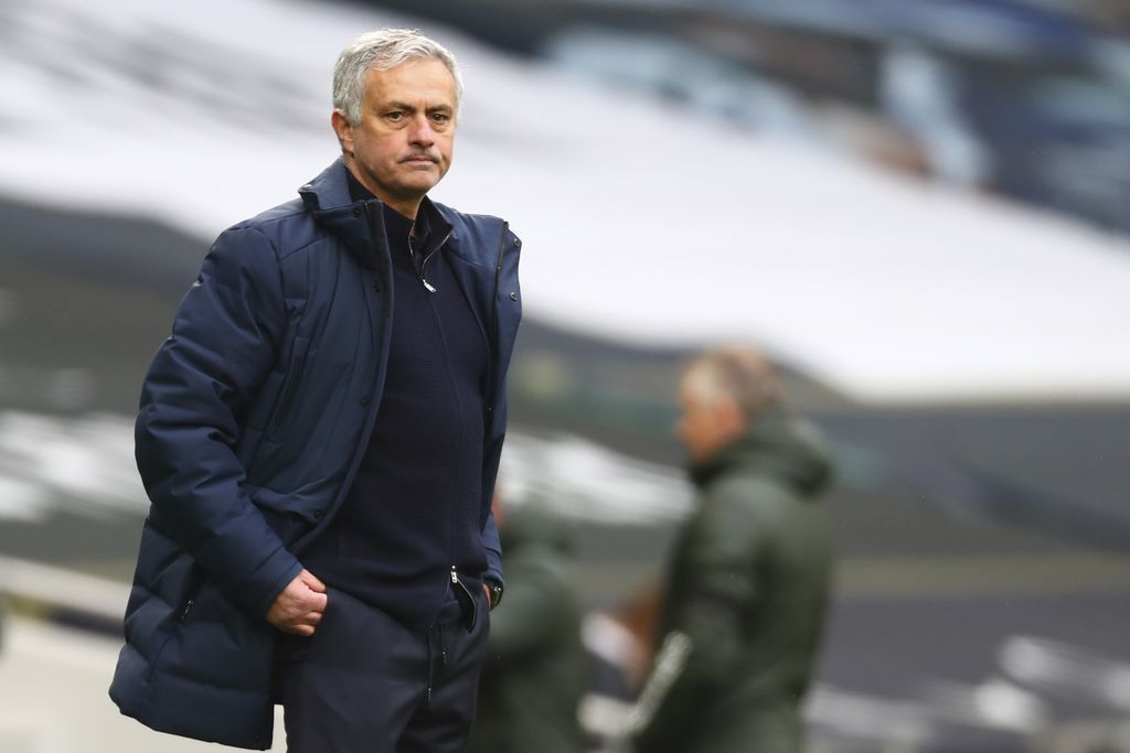 Tottenham's manager Jose Mourinho reacts during the English Premier League soccer match between Tottenham Hotspur and Manchester United at the Tottenham Hotspur Stadium in London, Sunday, April 11, 2021. (Clive Rose/Pool via AP)