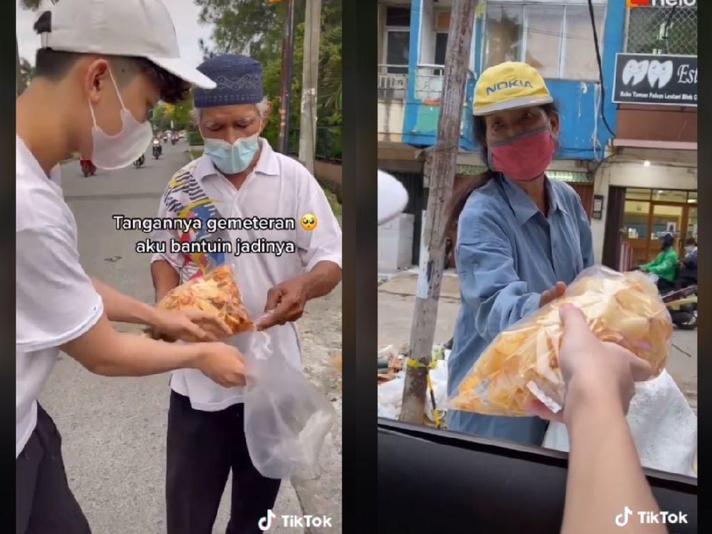 Keren! Pria Ini Borong Kerupuk Untuk Menolong Kakek Penjualnya