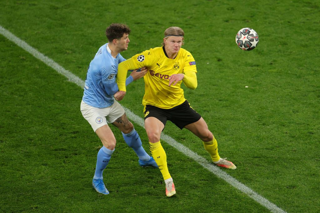 DORTMUND, GERMANY - APRIL 14: Dortmund´s Erling Haaland  during the UEFA Champions League Quarter Final Second Leg match between Borussia Dortmund and Manchester City at Signal Iduna Park on April 14, 2021 in Dortmund, Germany.  (Photo by Frederic Scheidemann/Getty Images)