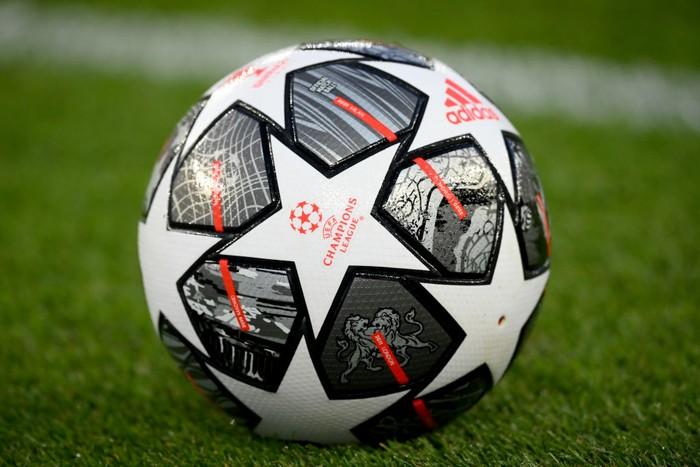 PARIS, FRANCE - APRIL 13: A detailed view of the match ball prior to  during the UEFA Champions League Quarter Final Second Leg match between Paris Saint-Germain and FC Bayern Munich at Parc des Princes on April 13, 2021 in Paris, France. Sporting stadiums around France remain under strict restrictions due to the Coronavirus Pandemic as Government social distancing laws prohibit fans inside venues resulting in games being played behind closed doors. (Photo by Matthias Hangst/Getty Images)