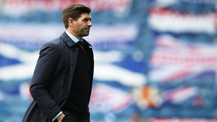 GLASGOW, SCOTLAND - APRIL 04: Rangers Manager Steven Gerrard is seen during the William Hill Scottish Cup Third Round match between Rangers and Cove Rangers on April 04, 2021 in Glasgow, Scotland. Sporting stadiums around the UK remain under strict restrictions due to the Coronavirus Pandemic as Government social distancing laws prohibit fans inside venues resulting in games being played behind closed doors. (Photo by Ian MacNicol/Getty Images)