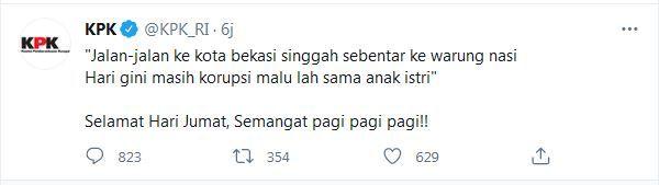 Screenshot pantun di akun Twitter KPK