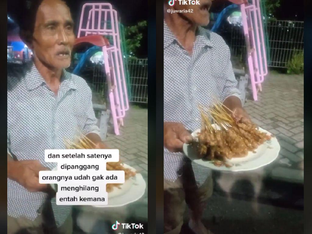 Miris! Kakek Penjual Sate Ini Ditinggal Kabur Pembeli yang Pesan 84 Tusuk