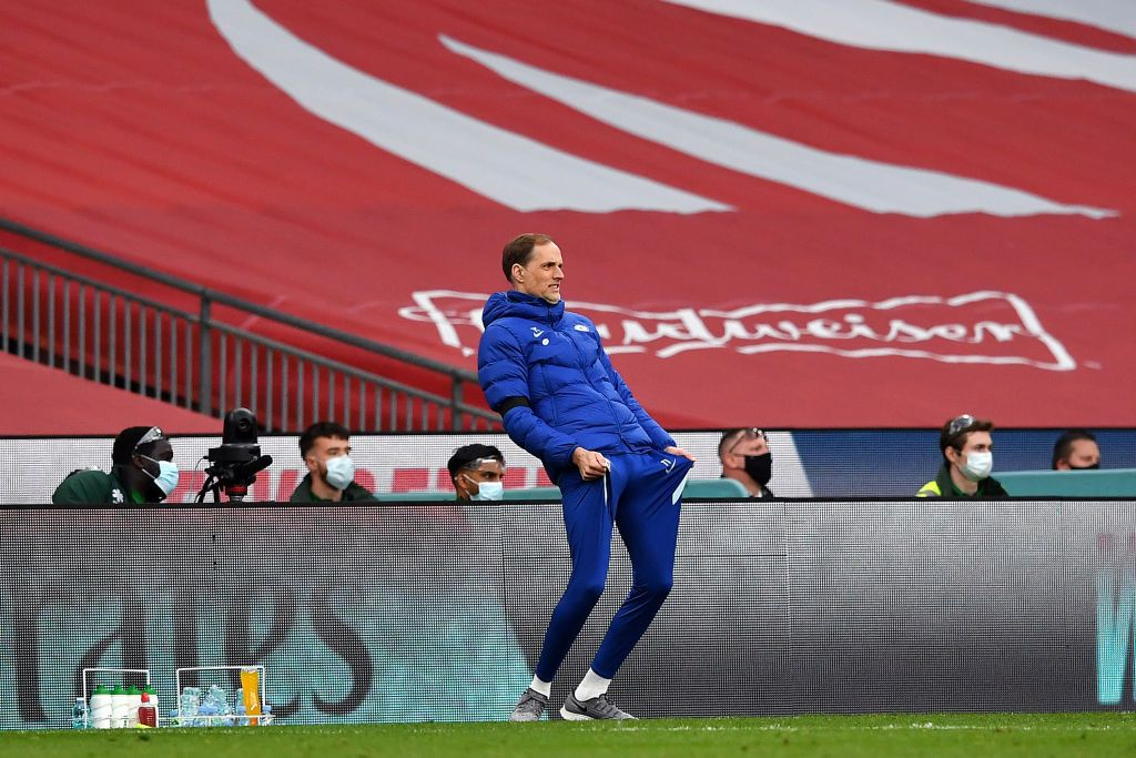 LONDON, ENGLAND - APRIL 17: Thomas Tuchel, Manager of Chelsea  reacts  during the Semi Final of the Emirates FA Cup match between Manchester City and Chelsea FC at Wembley Stadium on April 17, 2021 in London, England. Sporting stadiums around the UK remain under strict restrictions due to the Coronavirus Pandemic as Government social distancing laws prohibit fans inside venues resulting in games being played behind closed doors.  (Photo by Ben Stansall - Pool/Getty Images)