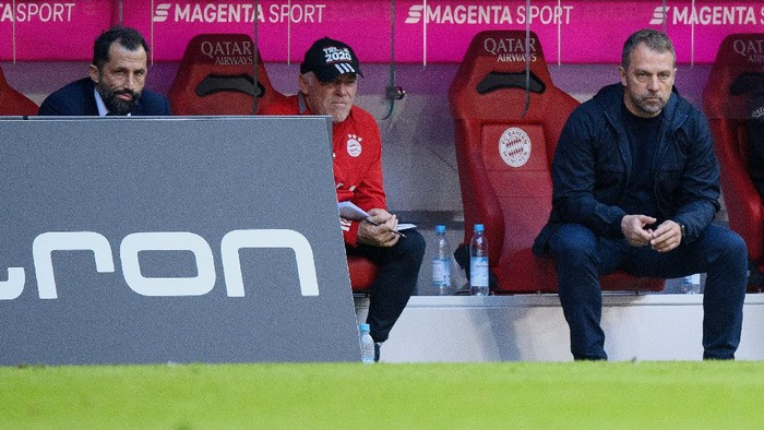 MUNICH, GERMANY - APRIL 10: Hasan Salihamidzic, sporting director of FC Bayern München and head coach Hansi Flick of FC Bayern München seen during the Bundesliga match between FC Bayern Muenchen and 1. FC Union Berlin at Allianz Arena on April 10, 2021 in Munich, Germany. (Photo by Matthias Hangst/Getty Images)