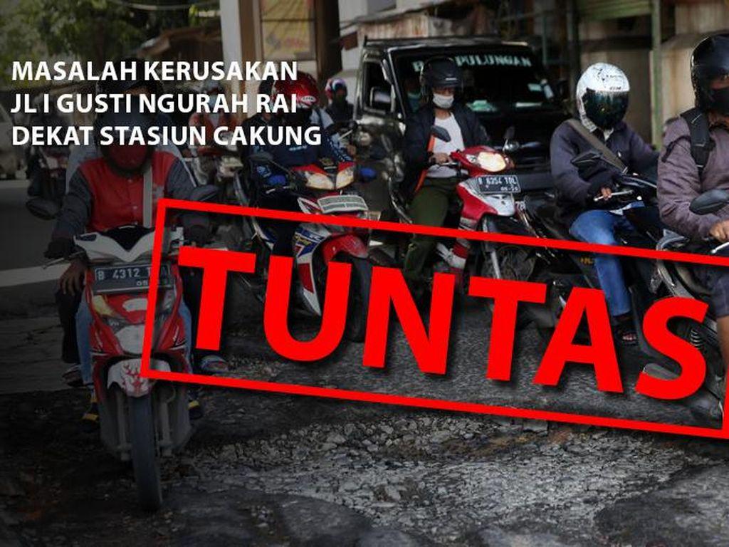 Before-after Perbaikan Jl I Gusti Ngurah Rai Dekat Stasiun Cakung