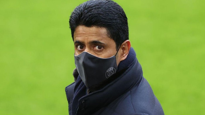 MUNICH, GERMANY - APRIL 06: Nasser Ghanim Al-Khelaifi, President of PSG looks on during a PSG Paris Saint-Germain training session ahead of the UEFA Champions League Quarter Final match against FC Bayern Munich at Allianz Arena on April 06, 2021 in Munich, Germany. (Photo by Alexander Hassenstein/Getty Images)