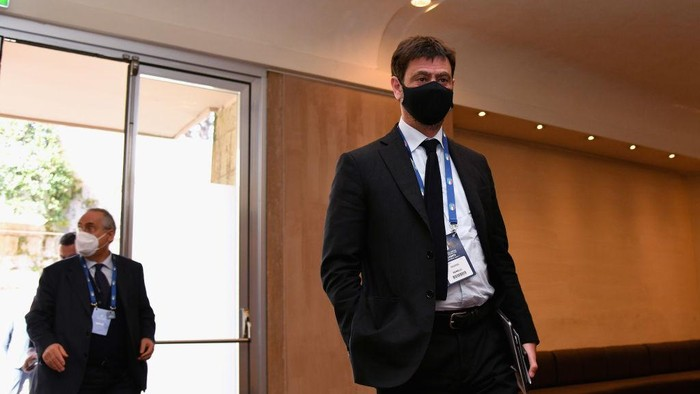 ROME, ITALY - FEBRUARY 22:  Juventus President Andrea Agnelli attends the FIGC Elective Assembly at Cavalieri Waldorf Astoria Hotel on February 21, 2021 in Rome, Italy.  (Photo by Marco Rosi/Getty Images)