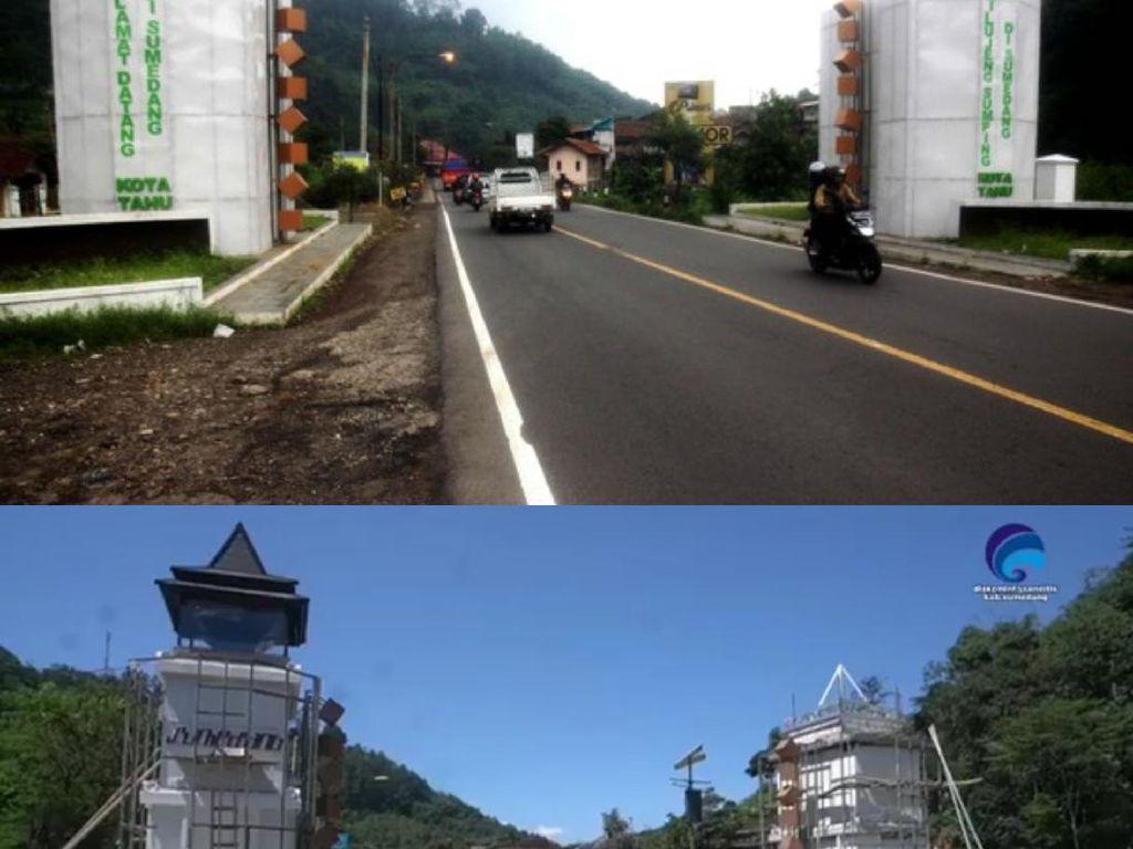 Sempat Dikritik, Gapura Sumedang Kota Kardus Akhirnya Diganti